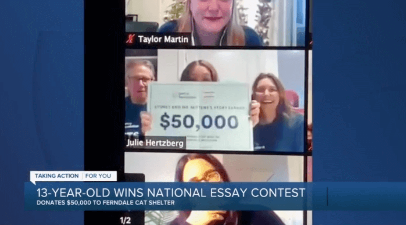 Teen wins contest with essay about her cat, donates winnings to Ferndale Cat Shelter