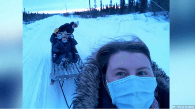 Dr. Katrine Bengaard and three fellow female healthcare workers deliver COVID-19 vaccines to people in rural Alaska.