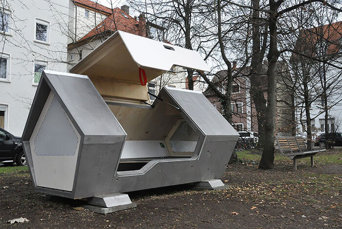 The Ulmer Nest is a Sleeping Pod Protecting the Homeless from The Cold