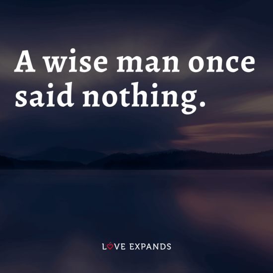 "Life and wisdom picture quote: ""A wise man once said nothing."""