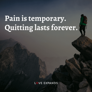 """Encouragement picture quote: """"Pain is temporary. Quitting lasts forever."""""""