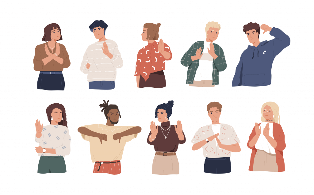 Drawing of 10 people displaying a variety of body language