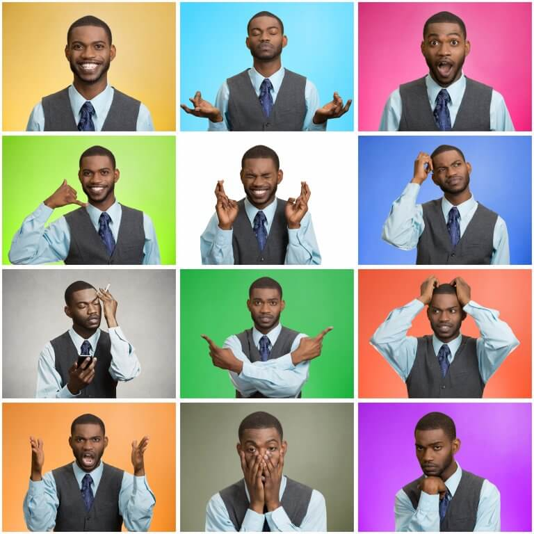 A black man providing a lesson for how to read facial expressions and body language
