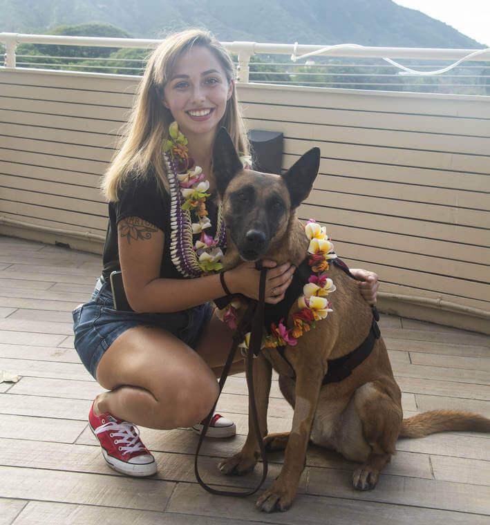 Sgt. Angela Cardone reunited with Bogi in Waikiki.