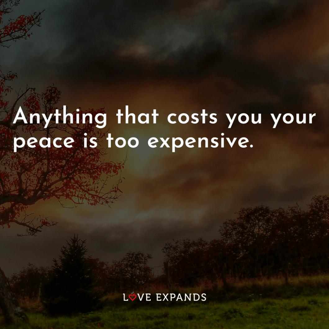 Picture quote: Anything that costs you your peace is too expensive.