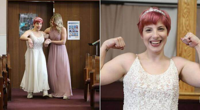 A bride who was born with cerebral palsy surprised friends and family by standing on her own two feet and walking down the aisle.