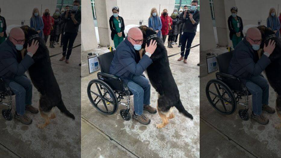 Brian Myers, 59, is reunited with his dog, Sadie, at the Kessler Rehabilitation Center in Saddle Brook.