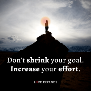 "Encouragement and inspirational quote: ""Don't shrink your goal. Increase your effort."""