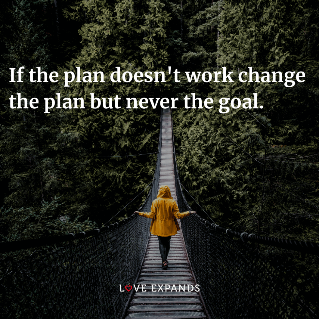 "Encouragement and success picture quote: ""If the plan doesn't work change the plan but never the goal."""