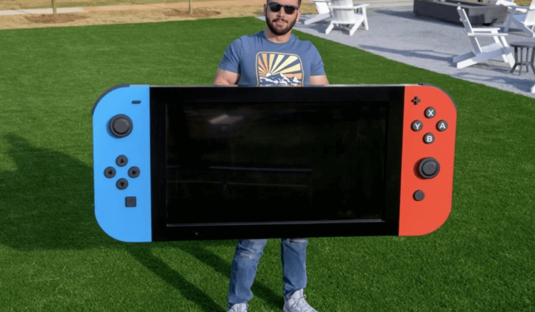 """An American engineer has built the """"world's largest"""" Nintendo Switch and donated it to a local children's hospital."""