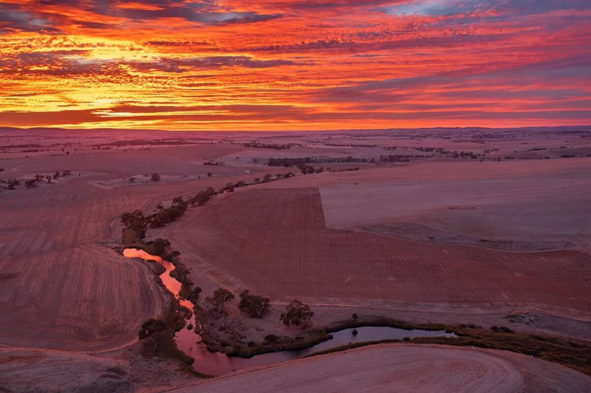 country sunrise over the light river in Hamley Bridge Australia