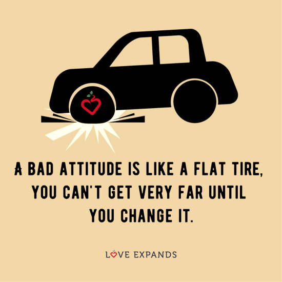 """Positive vs Bad attitude picture quote: """"A bad attitude is like a flat tire, you can't get very far until you change it."""""""