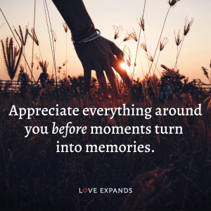"Gratitude, life and being present picture quote: ""Appreciate everything around you before moments turn into memories."""