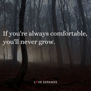 """Scary woods picture quote: """"If you're always comfortable, you'll never grow."""""""