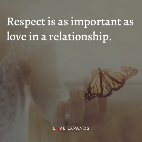 """Relationship and love picture quote: """"Respect is as important as love in a relationship."""""""