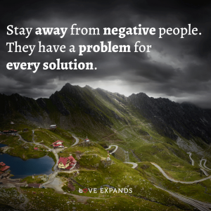 """""""Stay away from negative people. They have a problem for every solution."""" Friendship and relationship picture quote for a happier and healthier life."""