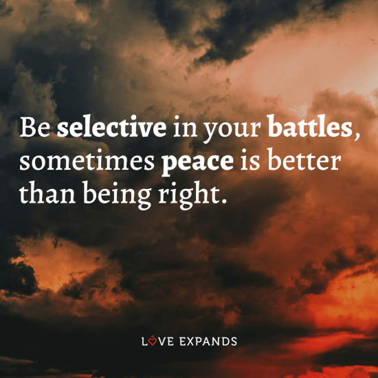 """Wisdom and life picture quote: """"Be selective in your battles, sometimes peace is better than being right."""""""