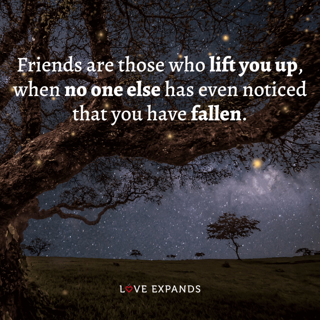 """Friendship and life picture quotes: """"Friends are those who lift you up when no one else has even noticed that you have fallen."""""""
