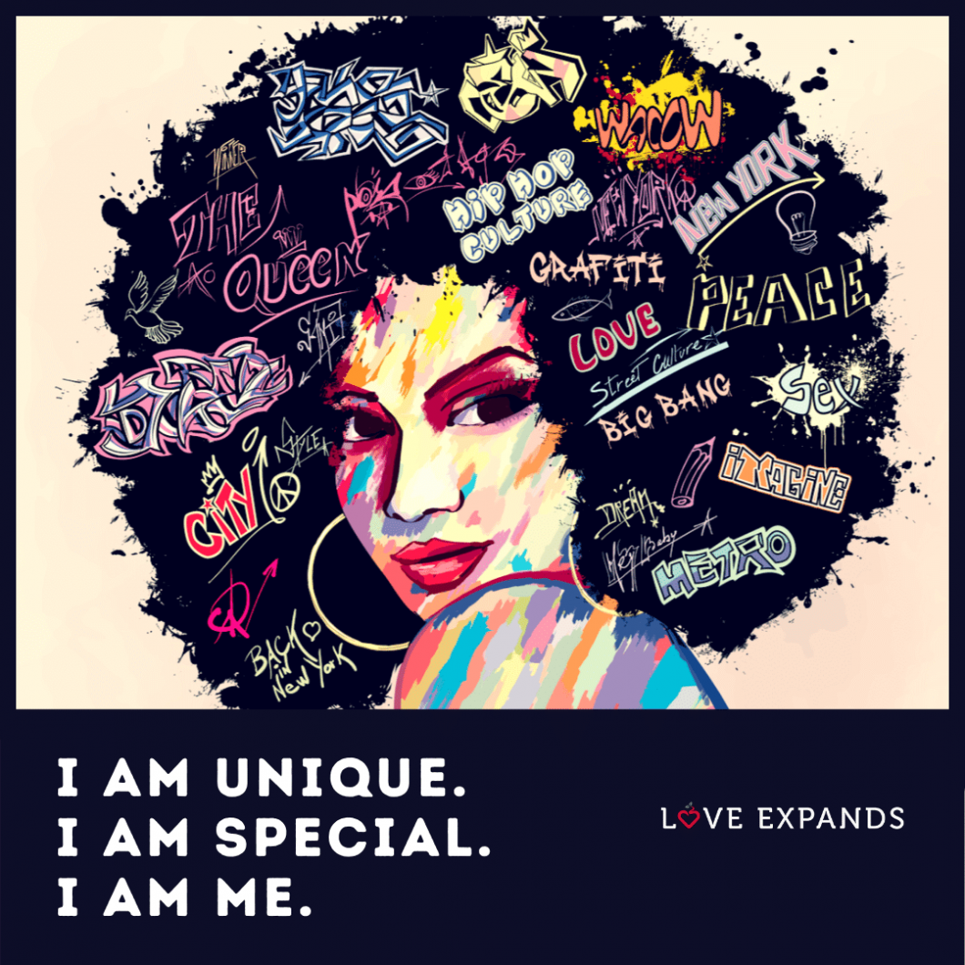 Self-love picture quote: I am unique. I am special. I am me.
