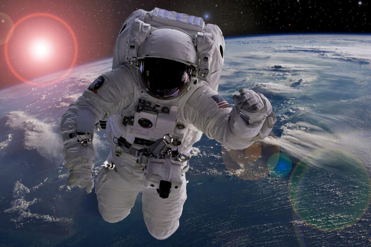 An astronaut growing taller in space