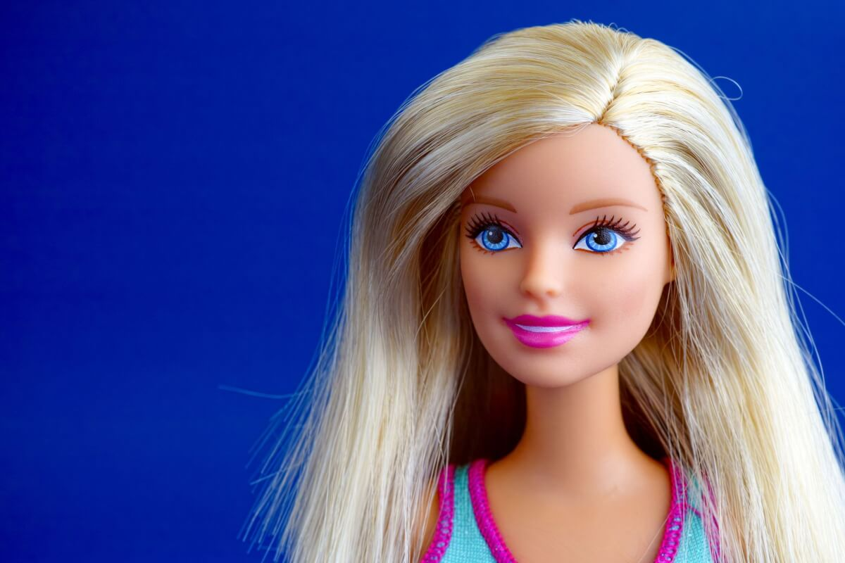 Barbie doll with blue eyes smiling