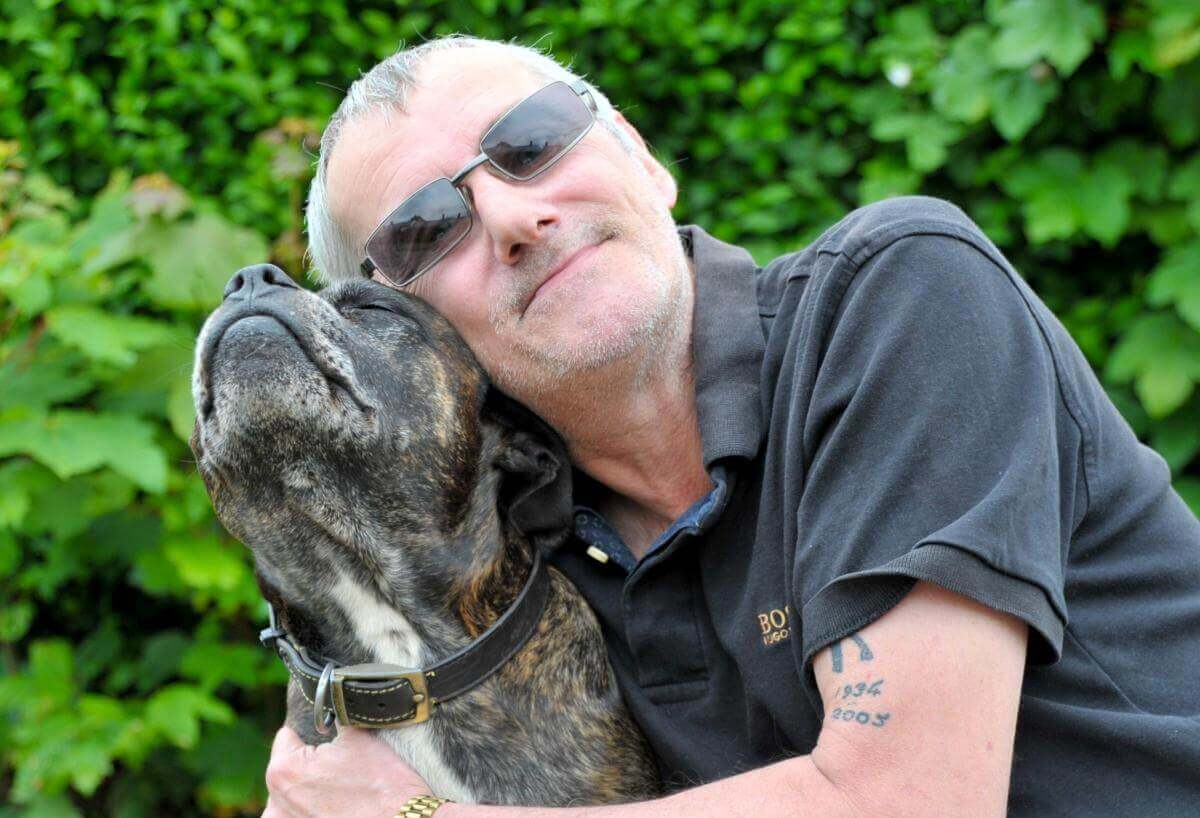 Chris Snow's dog, a 12-year-old Staffordshire bull terrier named Bones