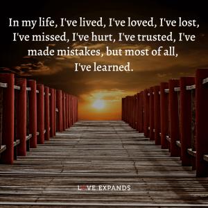 In my life, I've lived, I've loved, I've lost, I've missed, I've hurt, I've trusted, I've made mistakes, but most of all, I've learned.