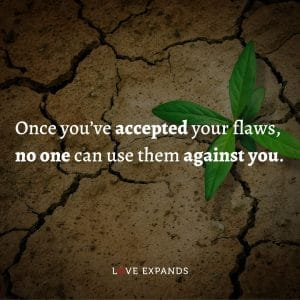 """Picture quote: """"Once you've accepted your flaws, no one can use them against you."""""""