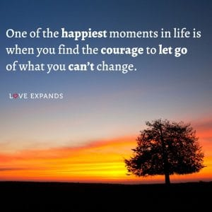"""""""One of the happiest moments in life is when you find the courage to let go of what you can't change."""" Life and happiness picture quote."""