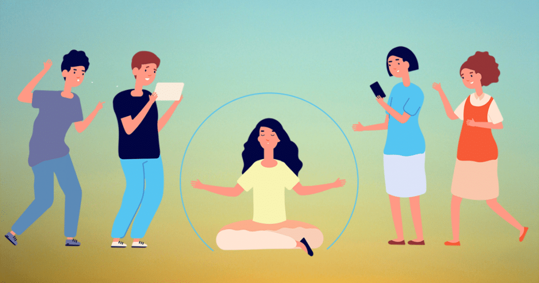 Illustration of a woman in a bubble setting and maintaining healthy boundaries