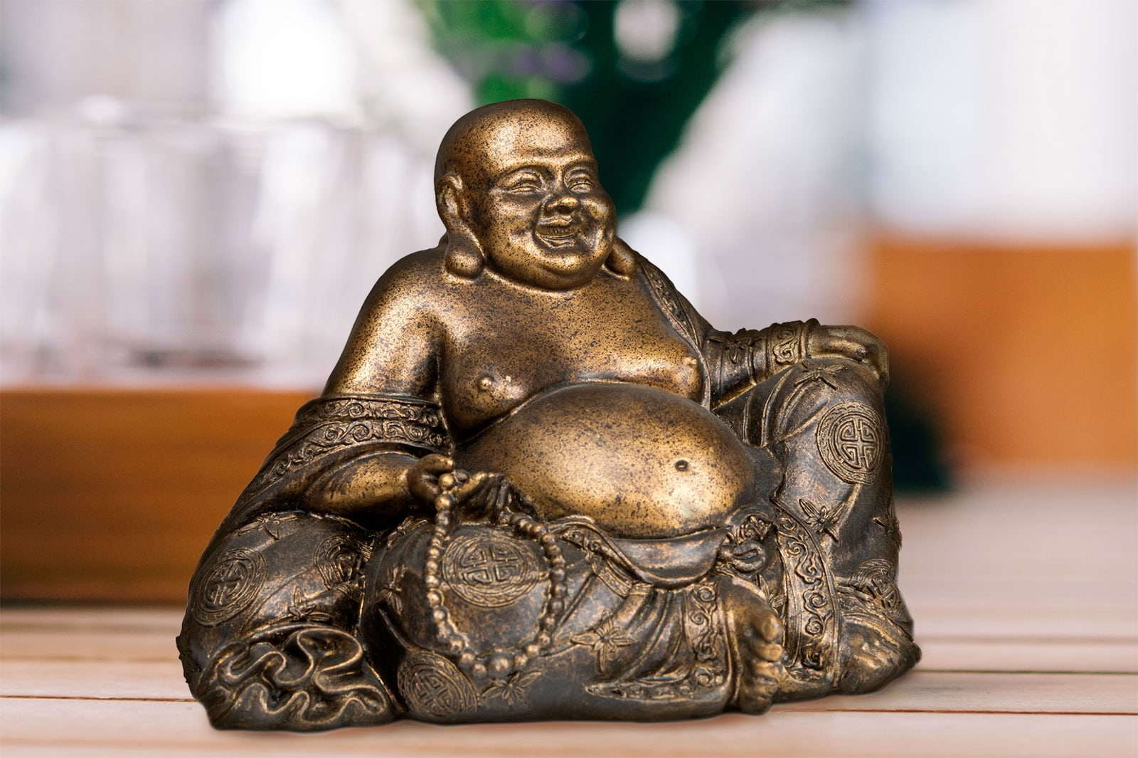 The laughing and chubby version of Buddha was first introduced in China. This is because in traditional China, being chubby signified good health and fortune.