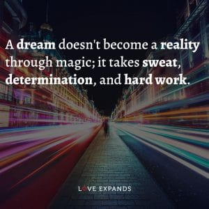 """Inspirational and encouragement picture quote: """"A dream doesn't become a reality through magic; it takes sweat, determination, and hard work."""""""
