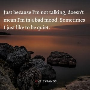 Just because I'm not talking, doesn't mean I'm in a bad mood. Sometimes I just like to be quiet.