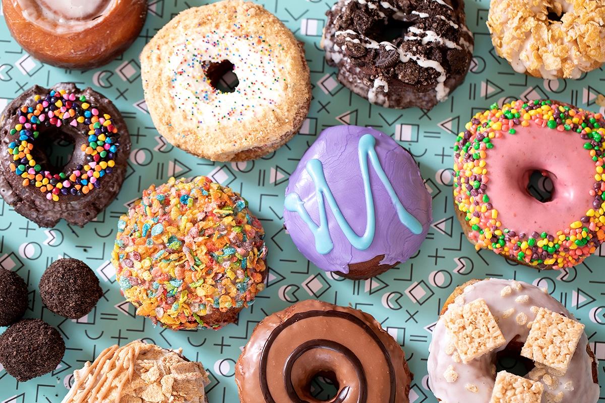 A box of an assortment of doughnuts