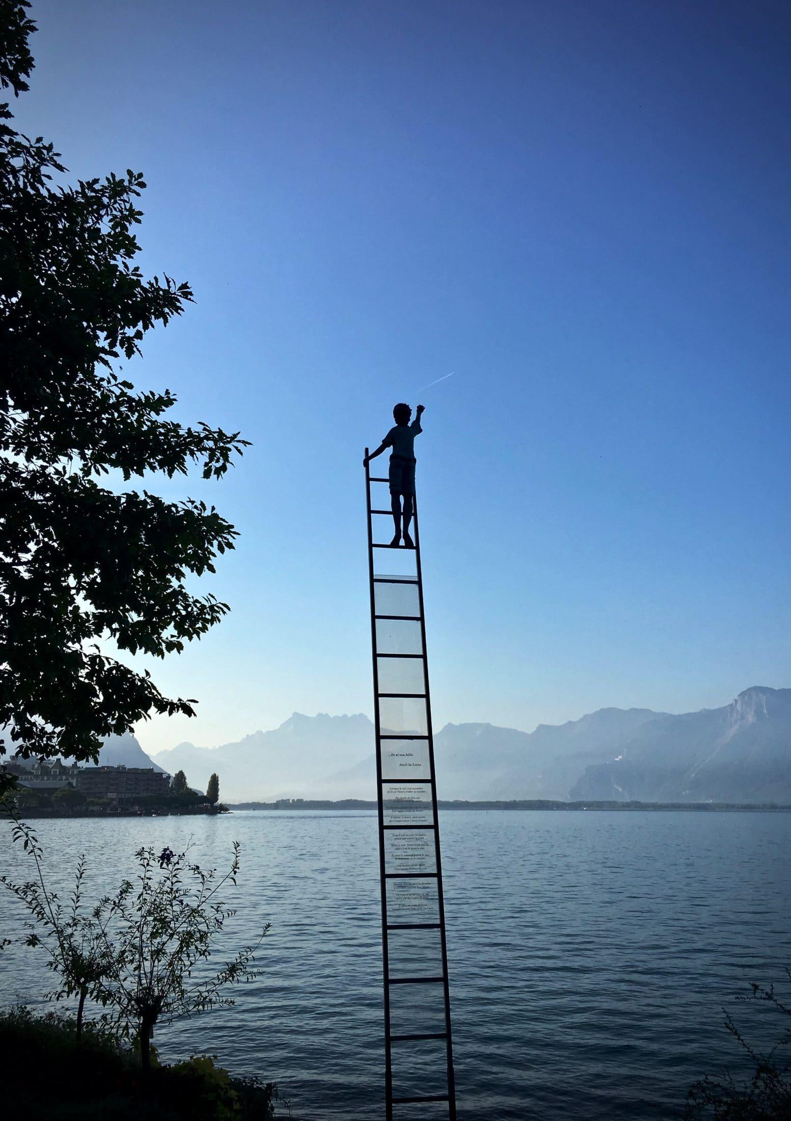 A young person climbing a ladder to reach their goals