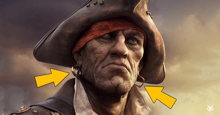 pirate wearing earrings