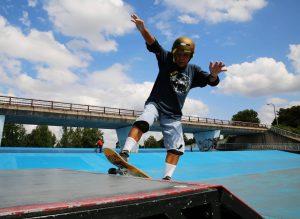 Yoshio Kinoshita practices skateboarding at a park in Daito, Osaka Prefecture, on Oct. 6.   REUTERS