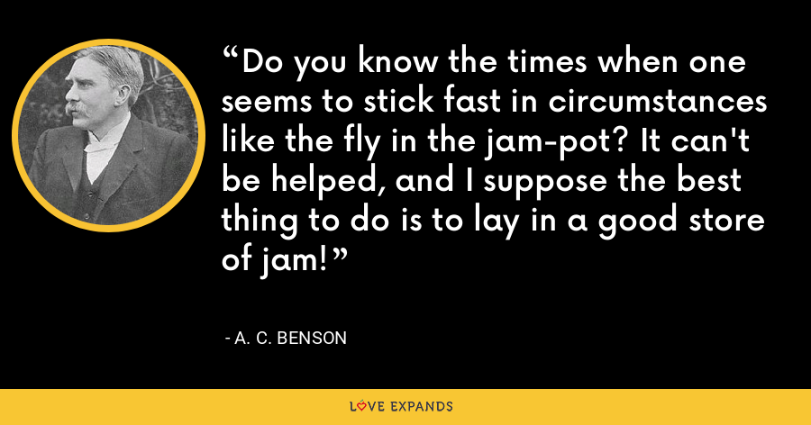 Do you know the times when one seems to stick fast in circumstances like the fly in the jam-pot? It can't be helped, and I suppose the best thing to do is to lay in a good store of jam! - A. C. Benson