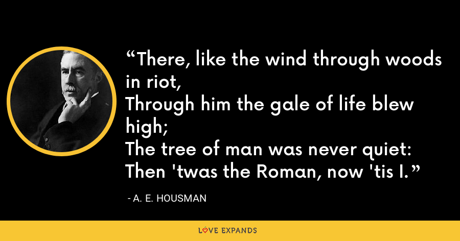 There, like the wind through woods in riot, Through him the gale of life blew high; The tree of man was never quiet: Then 'twas the Roman, now 'tis I. - A. E. Housman