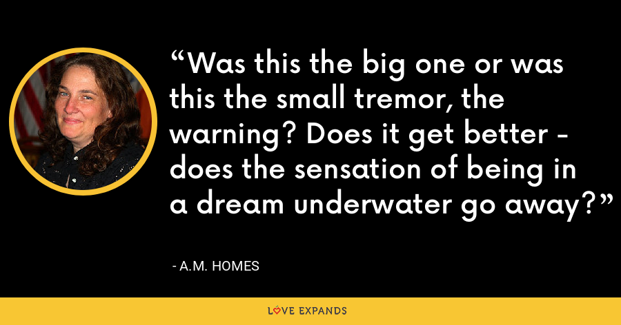Was this the big one or was this the small tremor, the warning? Does it get better - does the sensation of being in a dream underwater go away? - A.M. Homes