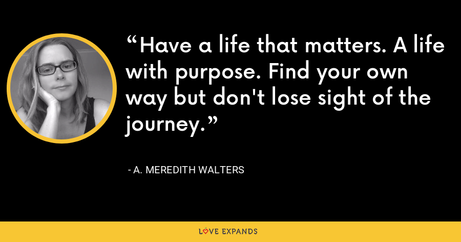 Have a life that matters. A life with purpose. Find your own way but don't lose sight of the journey. - A. Meredith Walters