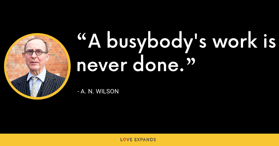 A busybody's work is never done. - A. N. Wilson