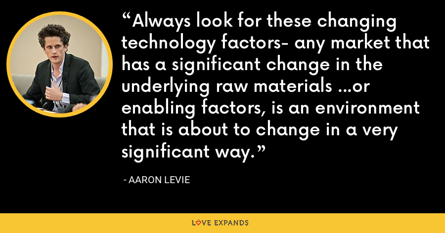 Always look for these changing technology factors- any market that has a significant change in the underlying raw materials ...or enabling factors, is an environment that is about to change in a very significant way. - Aaron Levie