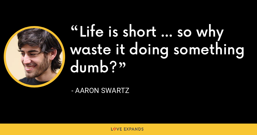 Life is short ... so why waste it doing something dumb? - Aaron Swartz