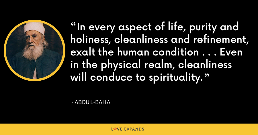 In every aspect of life, purity and holiness, cleanliness and refinement, exalt the human condition . . . Even in the physical realm, cleanliness will conduce to spirituality. - Abdu'l-Baha
