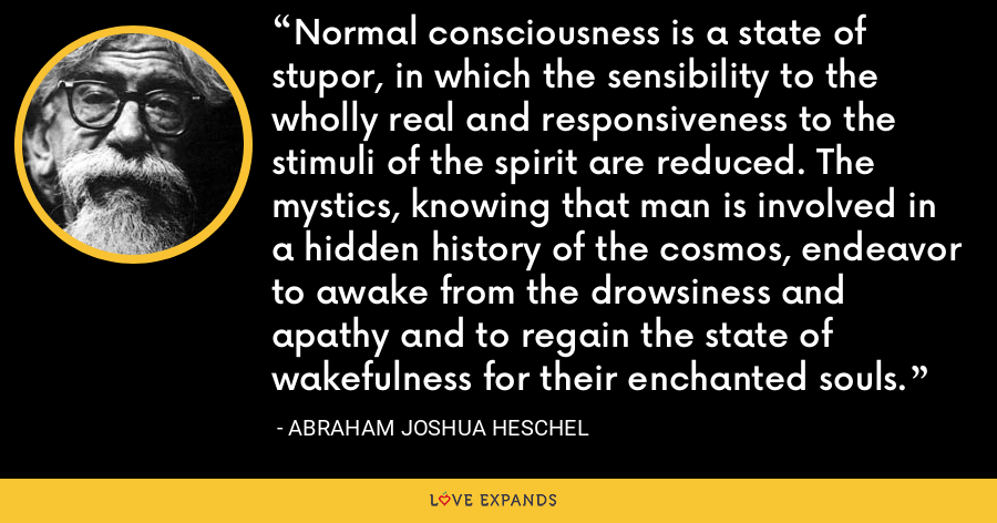 Normal consciousness is a state of stupor, in which the sensibility to the wholly real and responsiveness to the stimuli of the spirit are reduced. The mystics, knowing that man is involved in a hidden history of the cosmos, endeavor to awake from the drowsiness and apathy and to regain the state of wakefulness for their enchanted souls. - Abraham Joshua Heschel