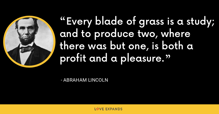 Every blade of grass is a study; and to produce two, where there was but one, is both a profit and a pleasure. - Abraham Lincoln