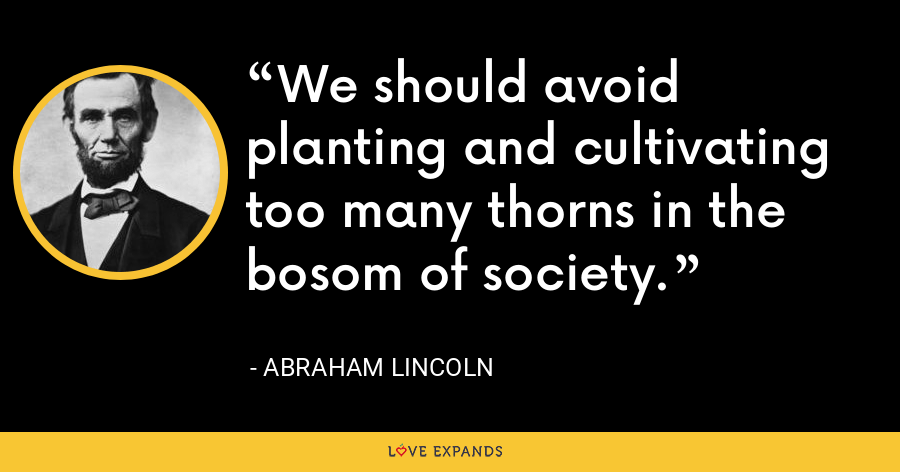 We should avoid planting and cultivating too many thorns in the bosom of society. - Abraham Lincoln