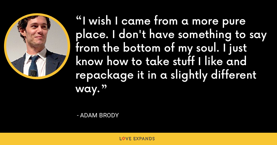 I wish I came from a more pure place. I don't have something to say from the bottom of my soul. I just know how to take stuff I like and repackage it in a slightly different way. - Adam Brody