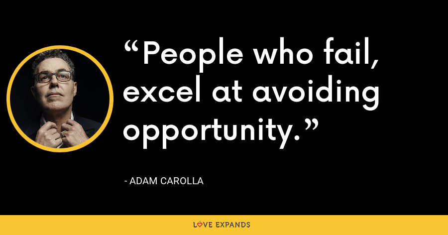 People who fail, excel at avoiding opportunity. - Adam Carolla